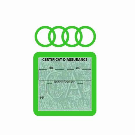 AUDI pochette étui assurance voiture moins 4 Ans vert clair