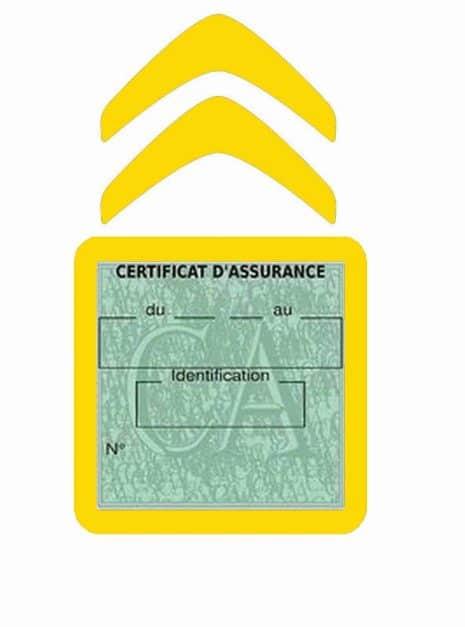 CITROEN pochette étui assurance voiture moins 4 Ans jaune