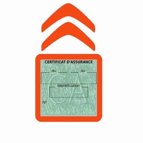 CITROEN pochette étui assurance voiture moins 4 Ans orange